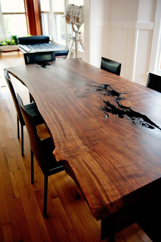 Modern Claro Walnut Live Edge Dining Table...slab with wane edges against traditional white woodwork & modern black leather chairs, yum!