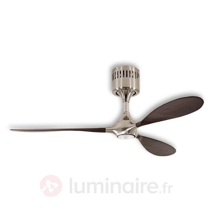 Ventilateur de plafond Helico Paddel, chromé/noyer, référence 2015102 - Ventilateurs de plafond ou à poser chez Luminaire.fr !