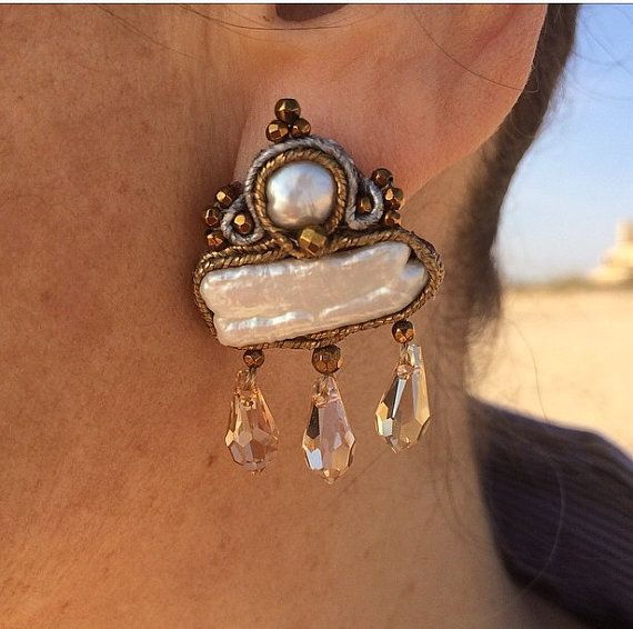 Victorian style pearl and Swarovski earrings by BijouxaLaCarte, $25.00
