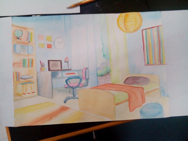 Uas menggambar, water color, perspective, indoor