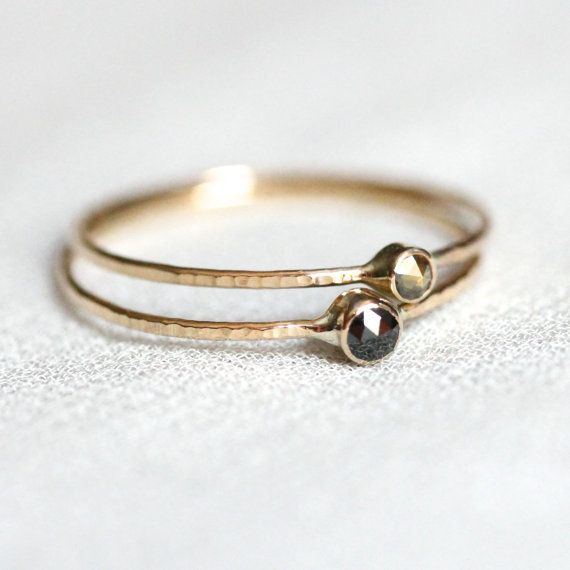 SOLID Gold Two Natural Rose Cut Diamond Rings | Rose or White or Yellow Hammered Gold Rings | One Black Diamond | One Champagne Diamond
