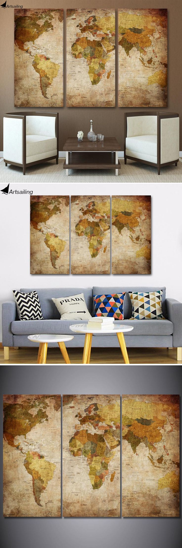 [Visit to Buy] HD printed 3 piece canvas art vintage world map painting room decor large canvas print wall art Free shipping/ny-5743 #Advertisement