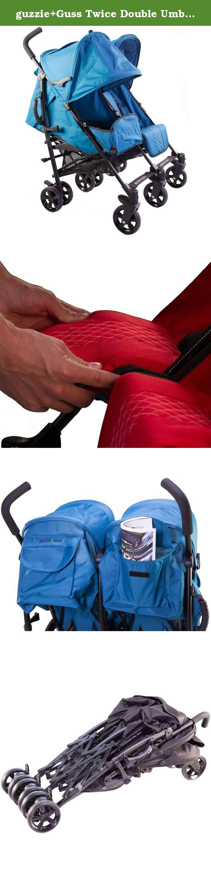 guzzie+Guss Twice Double Umbrella Stroller, Red. Travel for two made easier: You may have two, but that doesn't mean they are always on the same page. That's why Twice has separate one-hand controlled seat reclines, individual extendable sun coverage canopies, adjustable footrests, and all comfort suspension. It also has reflective safety strips, is simple to fold and has a convenient carry handle. The entire family is going to be happy with your choice.