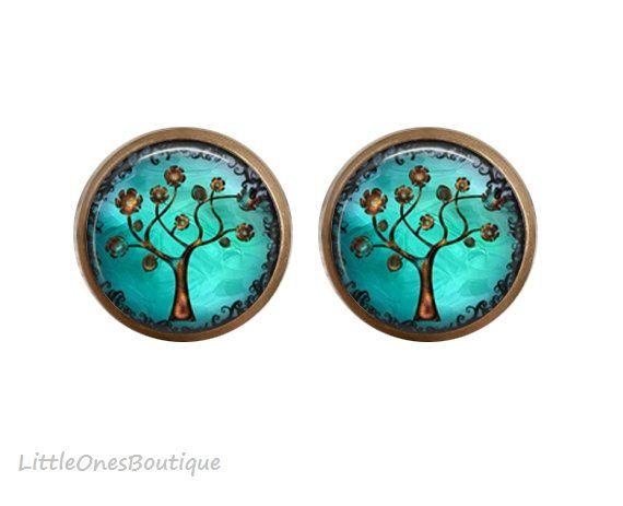 Copper Tree Earrings Australia Studs Teal by BoutiqueLittleOnes. #earrings #blue #tree