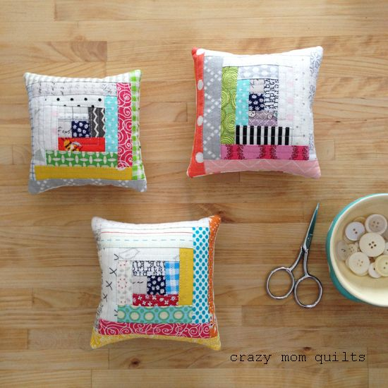 crazy mom quilts: Log Cabin pincushions