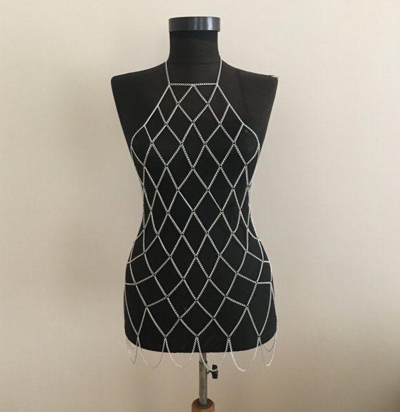 Silver Chain Dress Grid Chain Dress Bodychain Silver by MukoShop