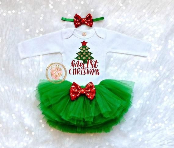 My 1st Christmas Outfit Girl First Christmas Baby Girl Etsy In 2020 Baby S First Christmas Outfit My First Christmas Outfit Baby Christmas Outfit