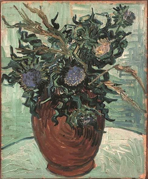 Still Life: Vase with Flower and Thistles Oil on canvas 41.0 x 34.0 cm. Auvers-sur-Oise: June, 1890 F 599, JH 2044 Hakone: Pola Museum of Art