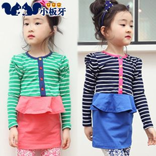 2013 autumn korean children lace bow striped long-sleeved dress child children baby girls 6325 only $11.11USD a Piece