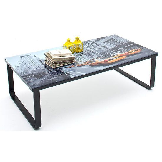 City Coffee Table In Glass Top With Black Metal Frame New York Image Glass And Black