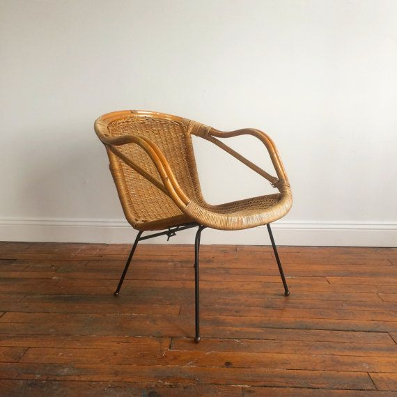 Mid century rattan basket chair with metal legs by Calif ...