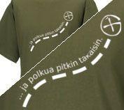 ja polkua pitkin takaisin T-paita, 20.00 €  ...ja polkua pitkin takaisin T-paidassa on paidan etupuolella kyseinen teksti ja G-logo. Jokainen geokätköilijä on ainakin kerran geokätköilleessään mennyt metsäkätkölle läpi risukoiden polutonta maastoa huomatakseen, että kätkölle vie polku :-). Paidan väri on premium oliivi ja paita on Jerzeesin Silver Label.   KOOSSA L