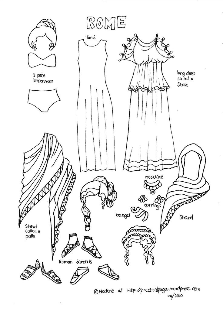 Ancient Rome paper dolls. (nice to see some illustrations of women of the time)