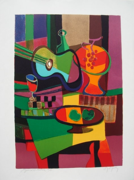 Marcel MOULY : Original lithograph : Still life with two apples