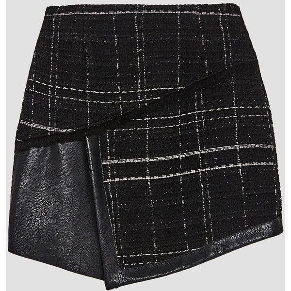 FALDA MINI TWEED COMBINADO - Ver todo-FALDAS-MUJER | ZARA España ❤ liked on Polyvore featuring skirts, mini skirts, tweed skirt and tweed mini skirt
