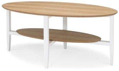Lycka soffbord. Lycka magnifyglass LYCKA soffbord ovalt i ek/vitlack. L130 B70 H53 2.795:- Finns även helt i ek 2.995:- Finns även som runt soffbord i både ek/vitlack 2.495:- och ek 2.795:-.