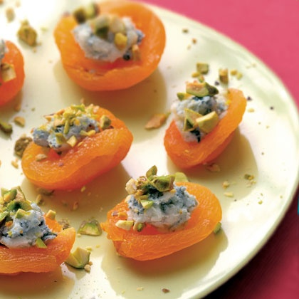 Apricot Canapes | 20 Easy Holiday Appetizers |Top apricots with blue cheese, chopped pistachios and drizzle with honey.