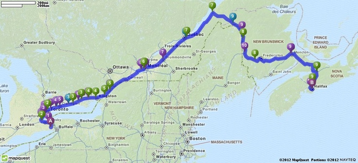 Driving Directions from 28 Empress Avenue, Welland, Canada to Halifax, Canada | MapQuest