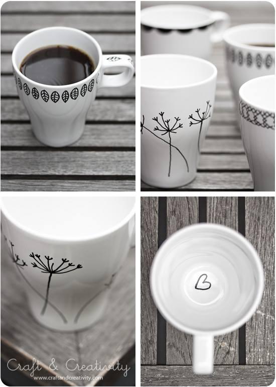 porceliano puodeliai pačios apipiešti