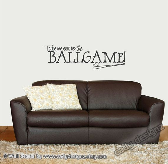 Baseball Wall Decal - Sports - Take Me Out to the Ballgame - Boys Room Decor - Vinyl Wall Decal - Wall Art - Vinyl Lettering - 10x33. $18.00, via Etsy.