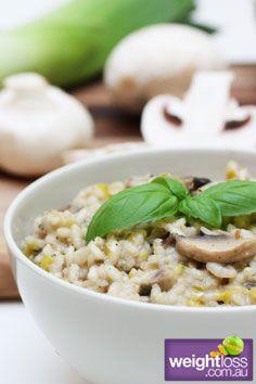 Low Fat Recipes: Mushroom Leek and Feta Risotto. #HealthyRecipes #DietRecipes #WeightlossRecipes weightloss.com.au