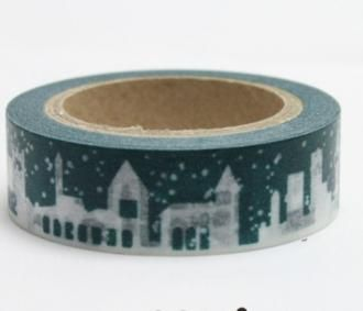 Washi pásky a Duct Tape - Washi pásky Vánoce - Dekorační lepicí páska - WASHI tape-1ks sněží - Výtvarné hračky