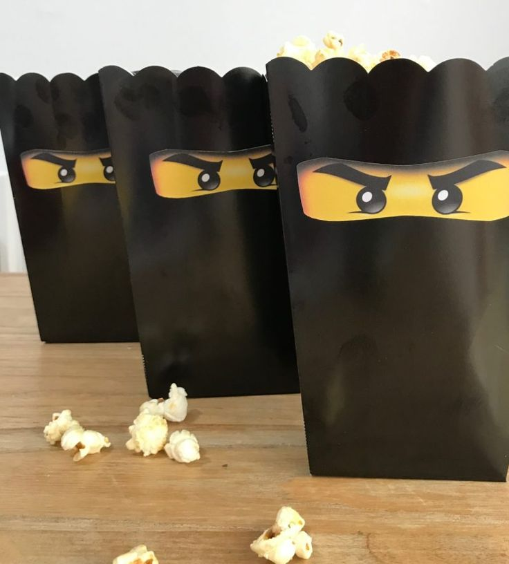 Ninja popcorn! Perfect for a Lego Ninjago party. Click through for tons of Lego Ninjgo party ideas including party bags and party tea and lego Ninjago fancy dress too #LegoNinjago