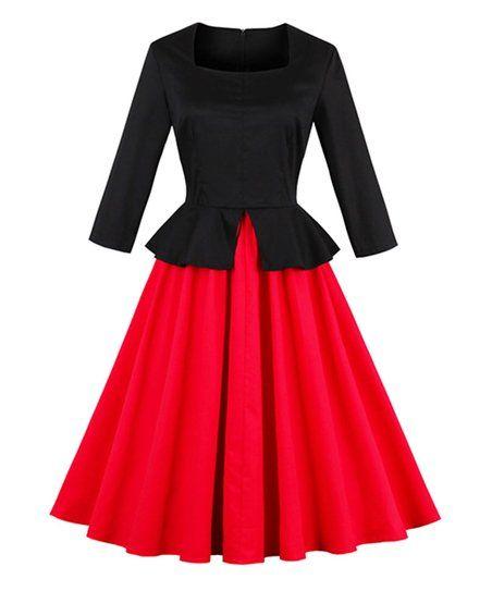 Sucrefas Black & Red Peplum A-Line Dress | zulily