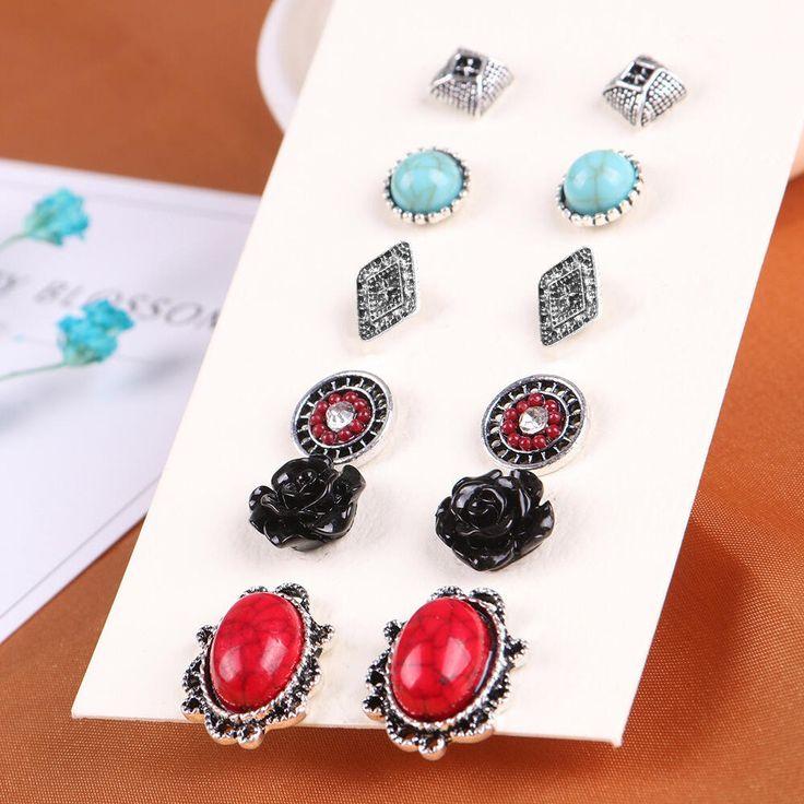 Flower Turquoise Stone Vintage Earring Stud Set  Earrings
