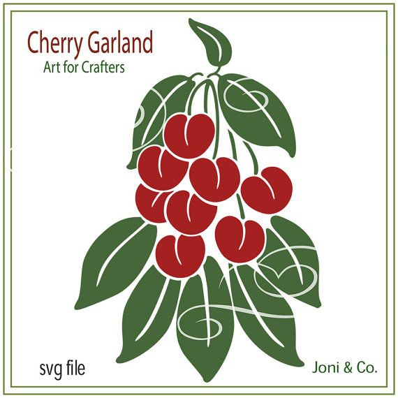 Cherry Garland SVG cutting file, Cherries, Leaves, garland svg, Sale- 25% off purchase of 12 dollars or more. Use: SVGSALE