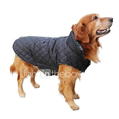 Cães Casacos Colete Vermelho Verde Marrom Beje Roupas para Cães Inverno Primavera/Outono Xadrez Mantenha Quente Reversível de 2017 por R$47.29