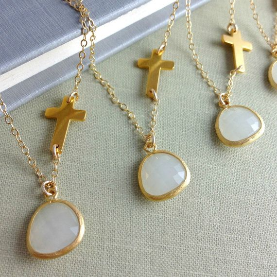Set Of 4 Personalized sideways Cross Necklaces, Bridesmaids
