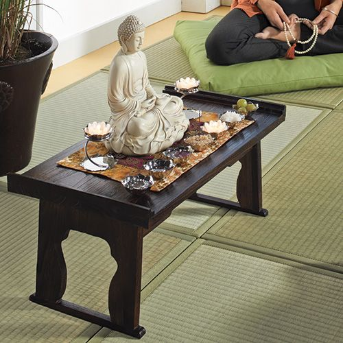 Superior Folding Kiri Wood Table:DharmaCrafts Meditation Supplies