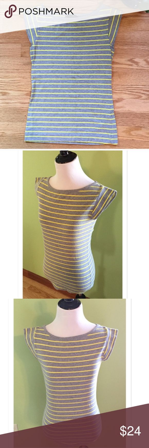 "French Connection Stretch Striped Cap Sleeve Tee Great striped Tee from French Connection. Featuring cap sleeves, this tee is 95% cotton; 5% elastane. Bust measures 14"" across; length 23"". EUC French Connection Tops Tees - Short Sleeve"