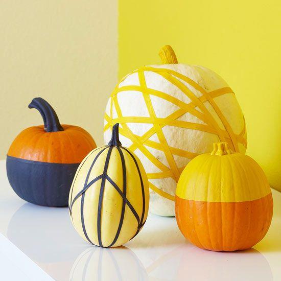 22 Creative Pumpkin Ideas including Masking Tape Pumpkins