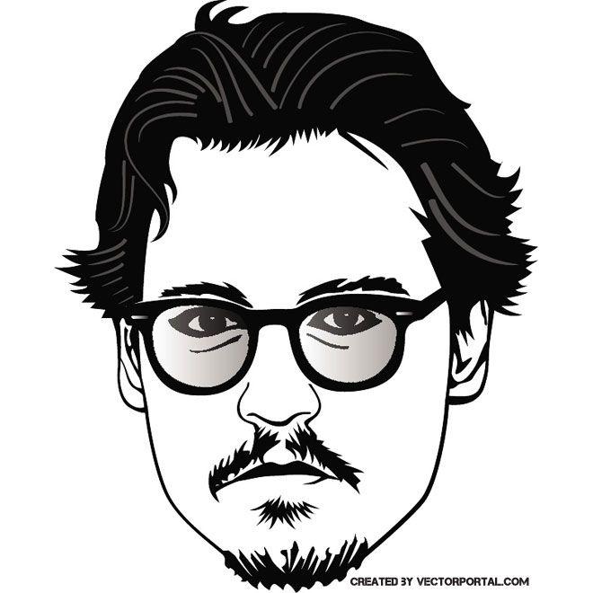johnny depp portrait free vector free vectors
