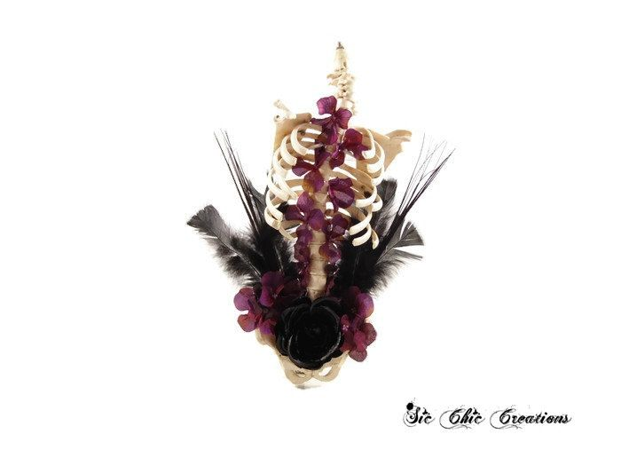 Halloween Floral Arrangement, Macabre,  Bones and Flowers, Halloween Decoration, Gothic Home Decor, Skeleton Decoration - pinned by pin4etsy.com