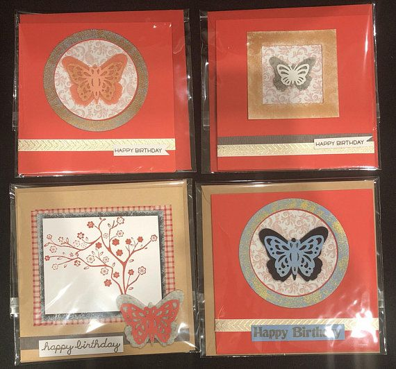 Birthday card set of 4 square cards in red/brown with