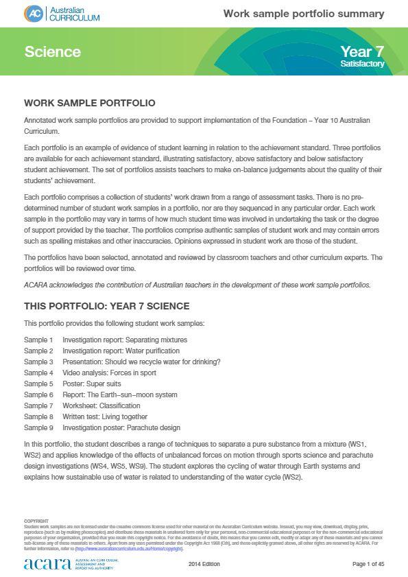Year 7  Science work sample portfolio - satisfactory