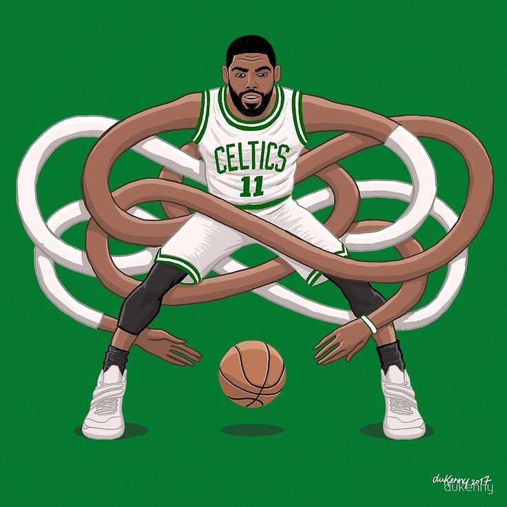 Gnarly handles comes to Boston. • Buy this artwork on apparel, stickers, phone cases, and more. #Kyrie Irving #NBA #Boston #Celtics