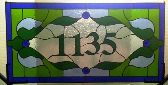 Stained Glass Transom Window Panel  by TerrazaStainedGlass on Etsy, $375.00 House Numbers