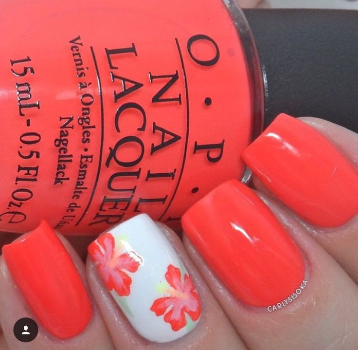 Hawaiian Summer mani by @carlysisoka Using our Hibiscus  Nail Decals Find them at: snailvinyls.com
