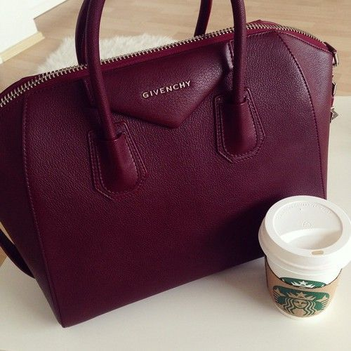 Givenchy #Starbucks dark maroon chic handbag luxury