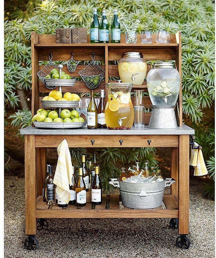 hutch as an outdoor bar cart for