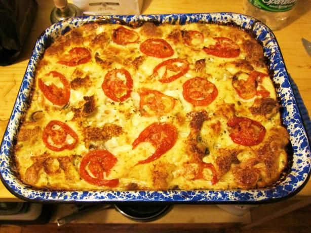 Morton Family Strata recipe. Don't forget to omit the mushrooms! Since Everett is allergic and all. ;-)