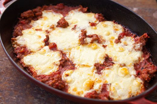 ... with polenta, Italian sausage, tomato sauce, and Mozzarella cheese