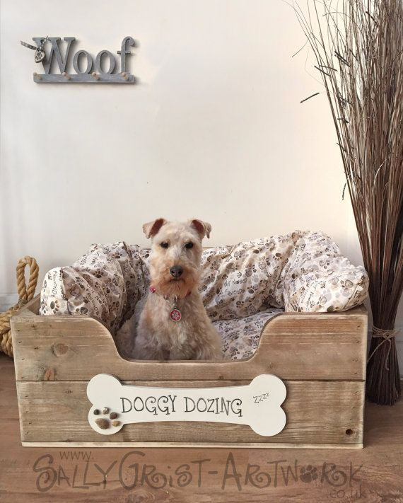 Hand-crafted wooden dog bed, LARGE - exclooosive to the Wet Nosed Friends range!
