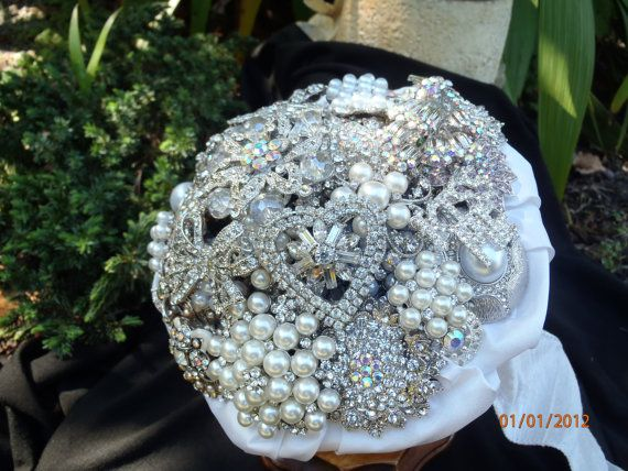 bridal rhinestone and pearl brooch bouquet by BeeLovedBouquets, $230.00