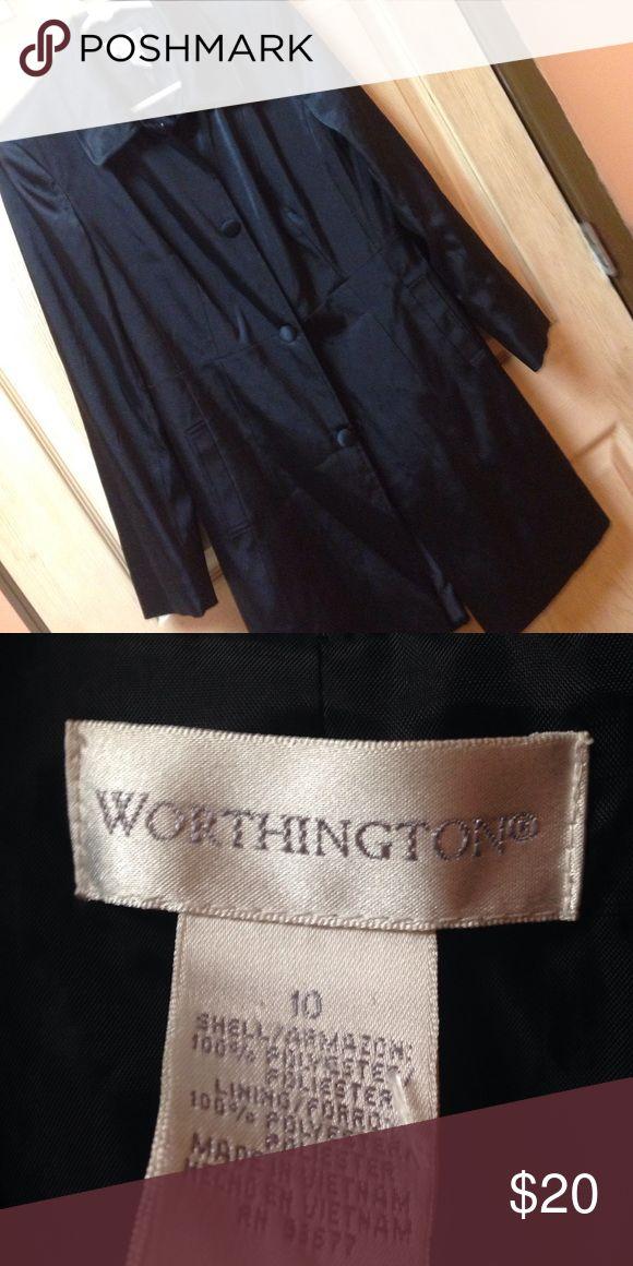 Shiny long blazer type button snap closure Soft and silky. Worthington Jackets & Coats Trench Coats