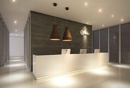 """Projeto para recepção """"clean"""" com toque rústico (luminárias de ferro). by RS Design"""